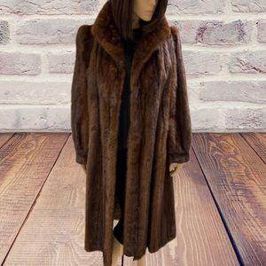 Mink Vintage Mid Length Real Fur Coat